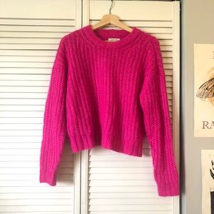 Aerie Woven Cropped Crew Neck Sweater- Hot Pink